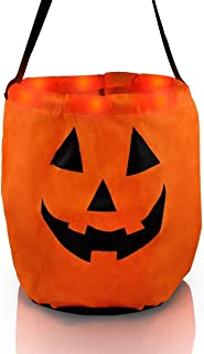 Mammoth Sales LED Light Up Pumpkin Ghost Trick Treat Candy Bag for Halloween