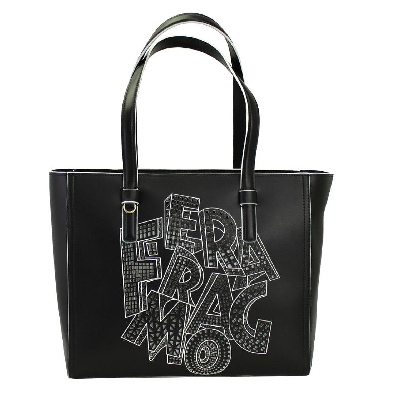 FERRAGAMO(フェラガモ) トートバッグ レタリング ロゴ レザー ブラック 21G283 NERO [並行輸入品]