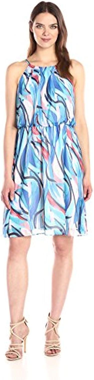 NINE WEST Women's Painted Wave Dress with Waist Shirred Washington Mall Rapid rise Chiffon