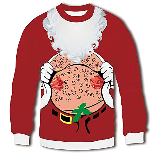 RAISEVERN Unisex Ugly Christmas Sweatshirt 3D Funny Design Printed Casual  Novelty Xmas Pullover Sweater Shirt 6f4d91a54