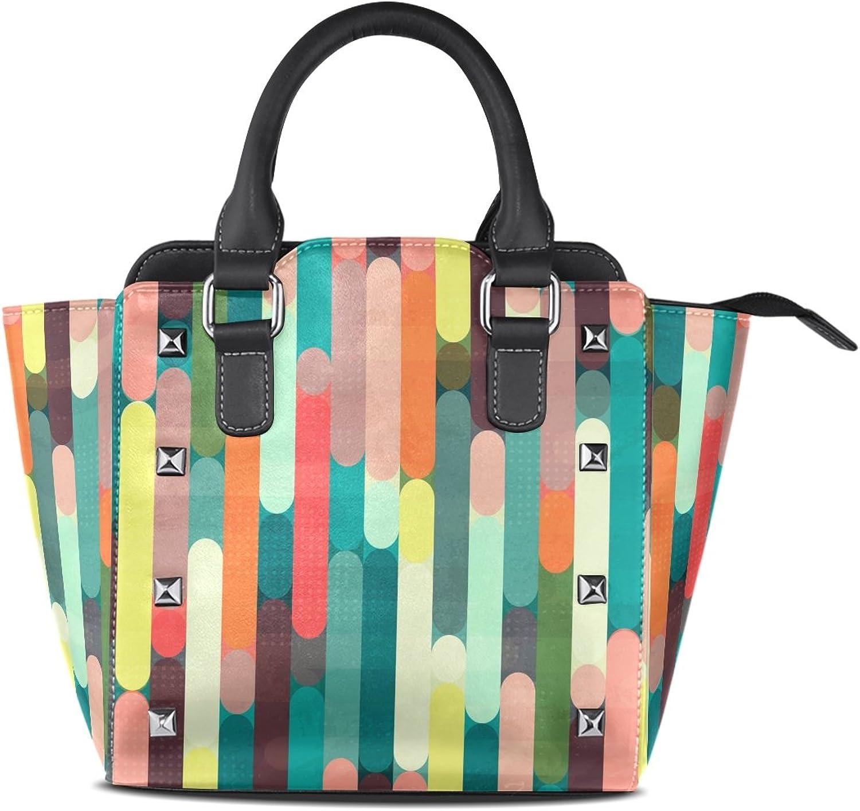 My Little Nest Women's Top Handle Satchel Handbag Retro Stripe Ladies PU Leather Shoulder Bag Crossbody Bag
