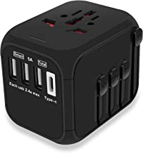 MAXAH Universal Travel Adapter Universal Travel Plug Power Adapter with 3 USB + 1 Type C Charging Ports Built-in Surge Protector All in One Wall Charger Adaptor Works in 150 Countries EU UK US AU