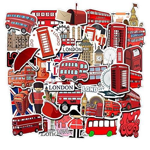 YZFCL England Landmarks England London Bus Stickers Phone Decoration Laptop Luggage Refrigerator Graffiti Stickers Waterproof 50PCS