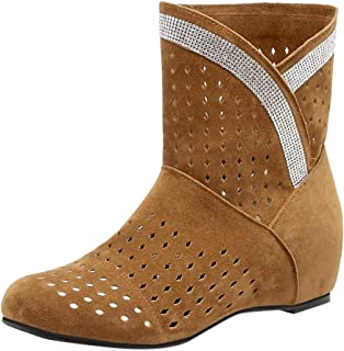 Holzkary Women's Fashion Round Toe Ankle Boots High Wedge Bootie Increase Within Boot with Hollow