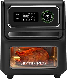 Air Fryer Oven 17-Quart, Convection Toaster Oven Dehydrator, 1800W Countertop Air Fryer Toaster Oven Combo with Racks, Knob Controls, 8 Presets, Cooking Accessories & Cookbook Included, ETL Certified
