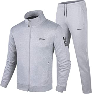 Men's Casual Tracksuit Long Sleeve Sweatsuit Athletic Set Full Zip Running Jogging Sports Jacket and Pants