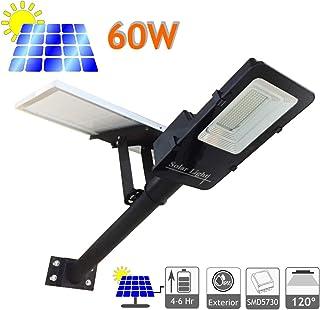 JANDEI - Farola LED 60W Solar Exterior IP65 Panel Orientable 120 LEDS 1375 Lúmenes 6000K Blanco Frío Batería Ion-Litio