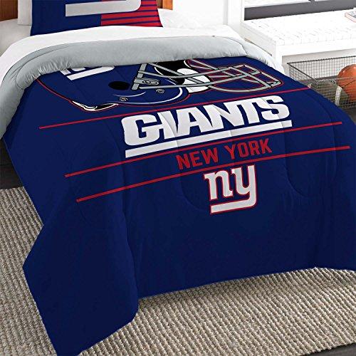 The Northwest Company NFL New York Giants Unisex Draft Twin Comforter and Sham Set, Blue, Twin