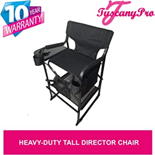 PRE Season Special-TuscanyPro Portable Heavy-Duty Tall Director Chair - Perfect for Events - 29 Inch Seat Height - 10 Years Warranty - US Patented
