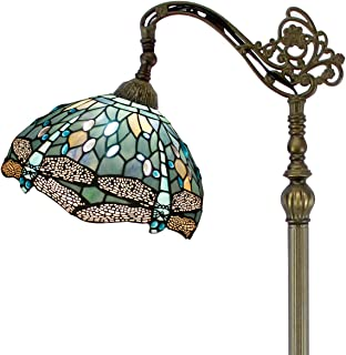 Tiffany Style Reading Floor Lamp Sea Blue Stained Glass Crystal Bead Dragonfly 12 Inch Lampshade 64 Inch Tall Arched Base Antique Light for Living Room Bedroom Coffee Table Set Gifts S147 WERFACTORY