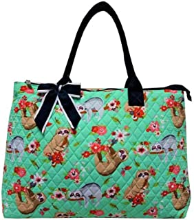 NGIL Quilted Cotton Extra Large Tote Bag (Sloth Navy)