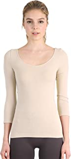 Nikibiki Womens Seamless Scoop Neck Three Quarter Sleeve Top