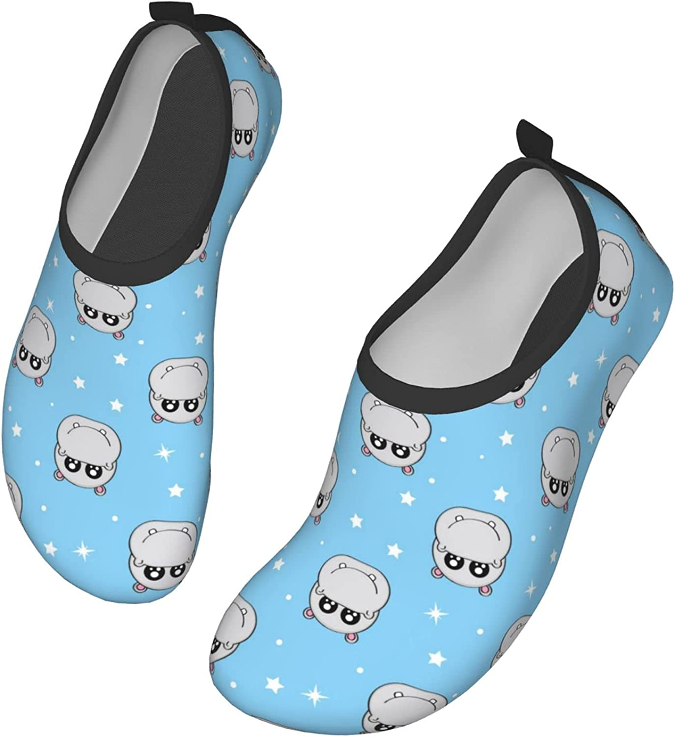 SDBUYW-ZQ Water Shoes Cute Kids Hippo Pattern Quick-Dry Aqua Socks Barefoot Shoes for Sports Yoga Exercise Men Women
