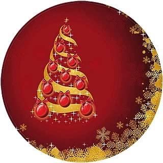 Christmas Carpet Round Non-Slip Flannel Rug Mat Snowflake Prit Floor Mats for Living Room Bathroom Home Carpets Decor