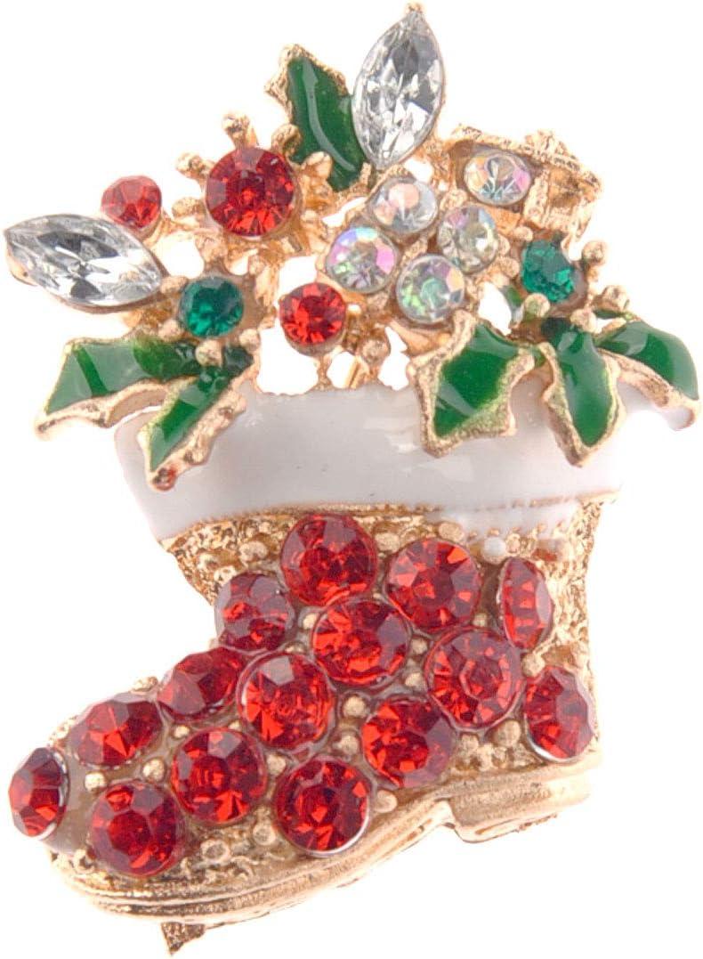 Christmas Decorations Amosfun Multi-Color Crystal Rhinestones Decor Christmas Boot Shaped Brooch Breastpin