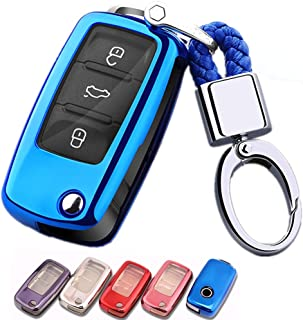 Mofei for VW Volkswagen Key Fob Cover Shell Case TPU Full Protector Holder with Key Chain Compatible with VW Jetta Passat Golf Beetle Rabbit GTI CC EOS Flip 3 Buttons Remote Keyless Entry (Blue)