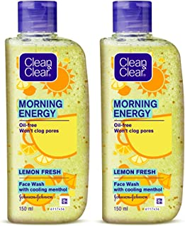 Clean & Clear Morning Energy Lemon Fresh, Yellow, 150 ml (Pack of 2)