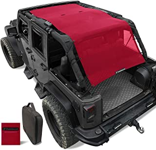 Shadeidea Jeep Wrangler Sun Shade JK Unlimited Sunshade JKU 4 Door Top 2007-2018 Front+Rear+Trunk-Cherry Red Mesh Screen Cover UV Blocker with Grab Bag Storage Pouch-10 Years Warranty