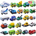 JOYIN 25 Piece Pull Back Cars and Trucks Toy Vehicles Set for Toddlers, Girls and Boys Kids Play Set, Die-Cast Car Set by Joyin Inc
