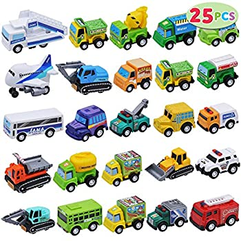 JOYIN 25 Piece Pull Back Cars and Trucks Toy Vehicles Set for Toddlers Girls and Boys Kids Play Set Die-Cast Car Set