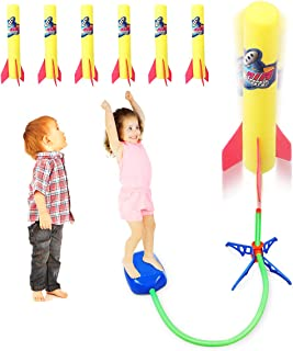Duckura Jump Rocket Launchers for Kids, Outdoor Air Rocket Toys with Launcher and 6 Foam Rockets, Best Gift for Boys Girls Toddlers Ages 3 Years and Up