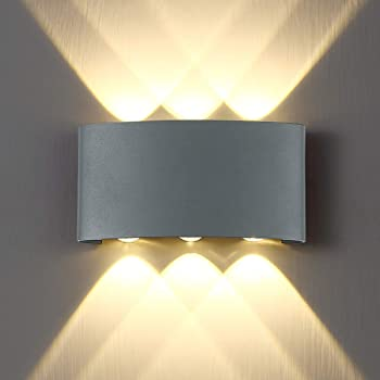 Style 1 Pathson Modern Outdoor Wall Light Up Down Wall Lamp Indoor Matte Black Wall Mount Light Fixture 4000K White Light for 3.9 Base 4 LEDs Hallway Porch Wall Sconce
