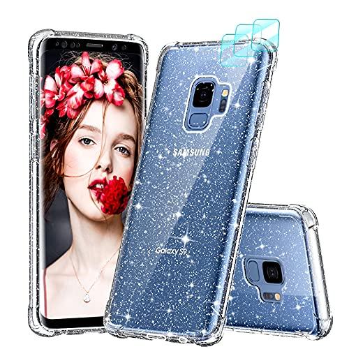 LeYi per Cover Samsung Galaxy S9 con Pellicola Fotocamera[3 Pack],Glitter Custodia Trasparente Crystal Slim Brillantini Rafforzare Silicone TPU Antiurto Clear Custodie
