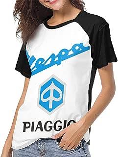 Fashion Designed T Shirt Piaggio Vs Vespa Motorcycles Logo Funny Baseball Shirt Short Sleeve for Women Black