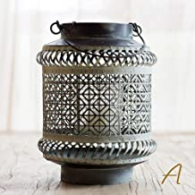 Estrymiw Metal Gray Lantern Candlestick Creative Wall-Mounted Candle Holder Hollow Candle Stand Romantic Wedding Home Deco...