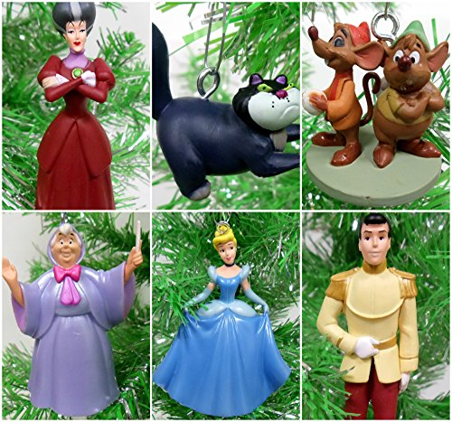 Christmas Tree Ornaments Cinderella 6 Piece Featuring Princess Cinderella, Prince Charming, Jaq, Fairy Godmother and More - Around 3' to 4' Tall with Unique Shatterproof Plastic Design