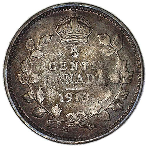 """1913 CA George V with""""DEI GRA"""" Canadian KM# 22 Silver 5 Cent Very Good"""