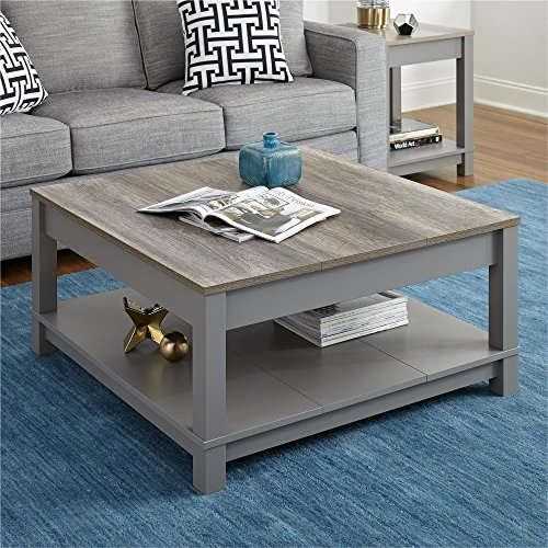 Ameriwood Home Carver Square Coffee Table, Gray