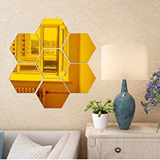Atulya Arts Offering 3D Large Hexagon Acrylic Stickers (Pack of 7) with 10 Butterfly Acrylic Mirror Wall Stickers for Home...