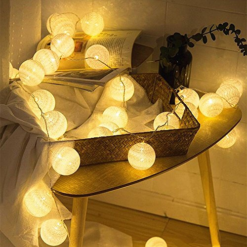 ELINKUME® LED Baumwollkugeln Lichterkette, 20er LEDs 4M/13,12ft, Stromversorgung über USB, Warmweiß Cotton Ball Stimmungsbeleuchtung für Balkon Fenster Party Hochzeit Weihnachten