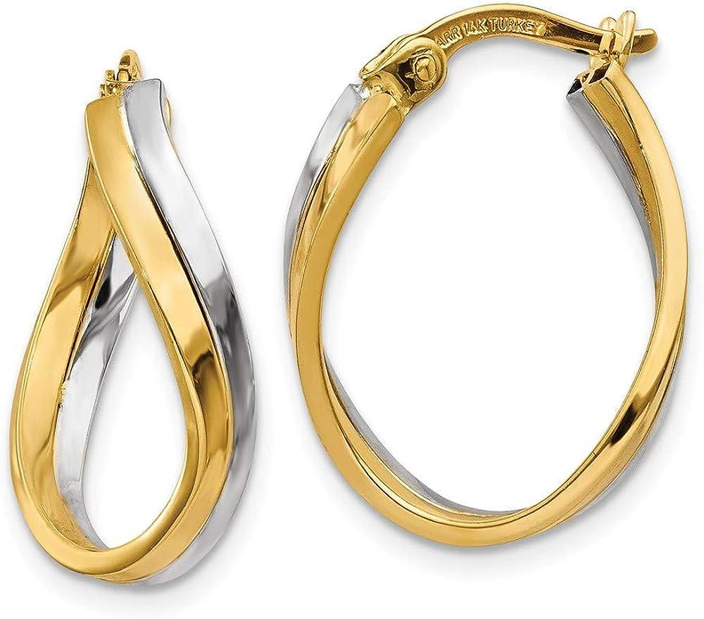 14k Two Tone Yellow Gold Hoop Earrings Ear Hoops Set Oval Fine Jewelry For Women Gifts For Her