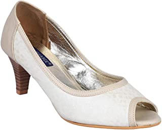 MSC Synthetic Fancy Cream Heel Sandal for Women