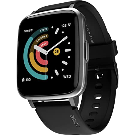 """Noise ColorFit Pulse Spo2 Smart Watch with 10 days battery life, 60+ Watch Faces, 1.4"""" Full Touch HD Display Smartwatch, 24*7 Heart Rate Monitor Smart Band, Sleep Monitoring Smart Watches for Men and Women & IP68 Waterproof (Jet Black)"""