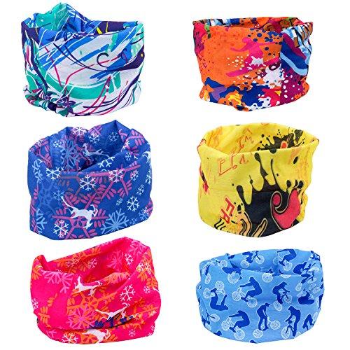 ZEWOO 6 sztuk / opakowanie z nadrukiem, chusta wielofunkcyjna typu bandana, opaska na głowę, chusta typu bandana, szal elastyczny na szyję, do jogi, wędrówek, jazdy konnej, jazdy na motocyklu (zestaw 1)