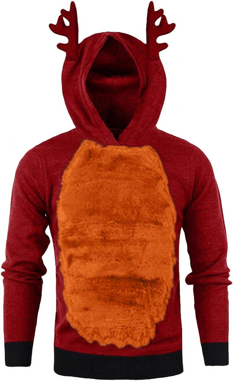 XUNFUN Ugly Christmas Hoodies for Men 3D Xmas Reindeer Fleece Pullover Winter Warm Color Block Patchwork Hooded Sweatshirts