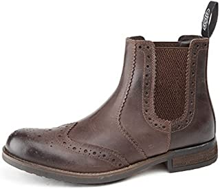 Roamers Mens Softie Leather Twin Gusset Brogue Ankle Boots