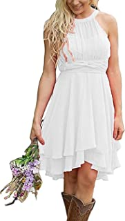 Jonlyc Women's A Line Chiffon Bridesmaid Dress Halter Short Prom Homecoming Dress 2019