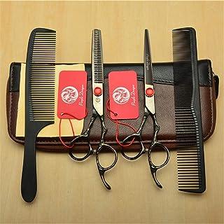 Professional Barber High-End 6,0 Inch Hair Snijden Scharen Verdunnende Shears 9CR Steel Black 4 delige Set Kappen Stylis...