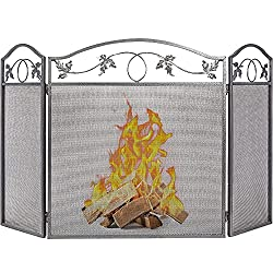Amagabeli 3 Panel Pewter Wrought Iron Fireplace Screen