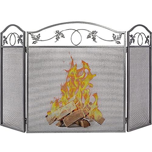 Amagabeli Indoor Fireplace Screen 3 Panel Pewter Wrought Iron Large Screen Outdoor Metal Decorative...