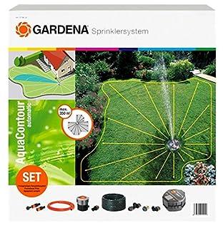Gardena Sprinklersystem AquaContour automatic (2708-20): Bewässerungssystem Komplett-Set mit Vielflächen-Versenkregner für individuelle Gartenformen bis 350 m²