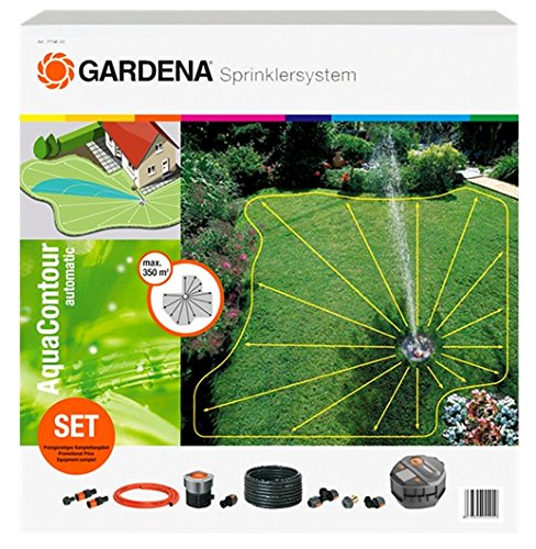 Gardena 2708-20 Sprinkler Complete Set with Large-Area AquaContour...