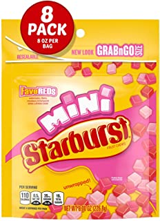 STARBURST FaveREDS Minis Fruit Chews Candy, 8-Ounce Grab N Go Size Resealable Bag (Pack of 8)