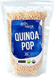 NEW Kapok Naturals Organic Quinoa Pop, A Great Healthy Snack or Organic Cereal Choice, These Quinoa Puffs are a Natural Gluten Free Snack, Gluten Free Cereal or Healthy Vegan Snack.