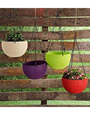 Abasr Hanging Baskets Rattan Waven Flower Pot Plant Pot with Hanging Chain for Houseplants Garden Balcony Decoration in Multicolor