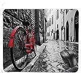 Symspad rutschfestes Mousepad auf Gummibasis, klassisches Fahrrad auf Kopfsteinpflasterstraße in der italienischen Stadt Freizeit künstlerische Foto-Mauspad
